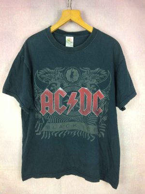 T-Shirt  AC/DC, édition Black Ice double face avec logo au dos, marque Fruit Of The Loom,  Rock Heavy Concert