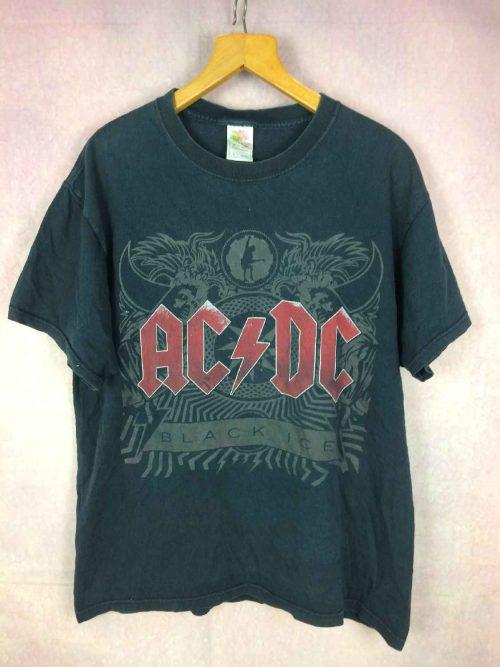 T-Shirt AC/DC, édition Black Ice double face avec logo au dos, marque Fruit Of The Loom, Rock Heavy Concert