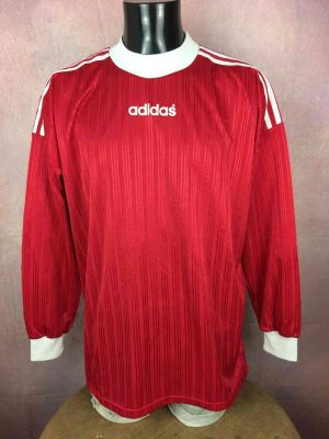 ADIDAS Maillot, Vintage Années 90s, Made in Tunisia, Manches longues, Football Jersey Trikot