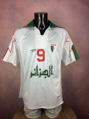 Maillot ALGERIE, Floqué N°9, Saison 1998, Version Away, Marque Cirta Sport, Ecusson Algérie cousu, Football Jersey Trikot Camiseta