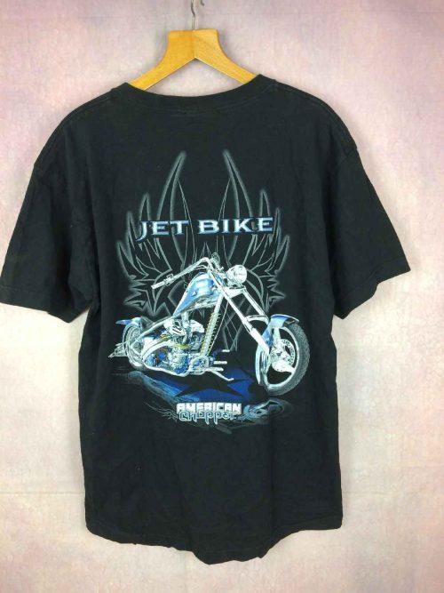 T-Shirt AMERICAN CHOPPER, Modèle Jet Bike, Licence Officielle, véritable vintage années 00s, Pur coton, Dos imprimé avec visuel, Biker Chopper Motorcycle