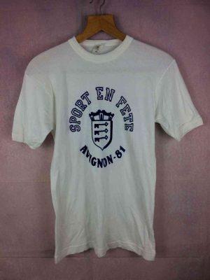 T-Shirt AVIGNON 81, Version Sport en Fête, Véritable vintage Années 80, Imprimé feutrine, Made in France, Dos Imprimé Sponsor KHK, Old-school Provence