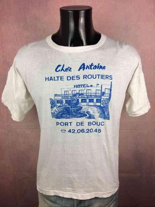 CHEZ ANTOINE Halte des Routiers T Shirt Port de Bouc, Véritable vintage années 80s, Pur coton, France Publicité Provence
