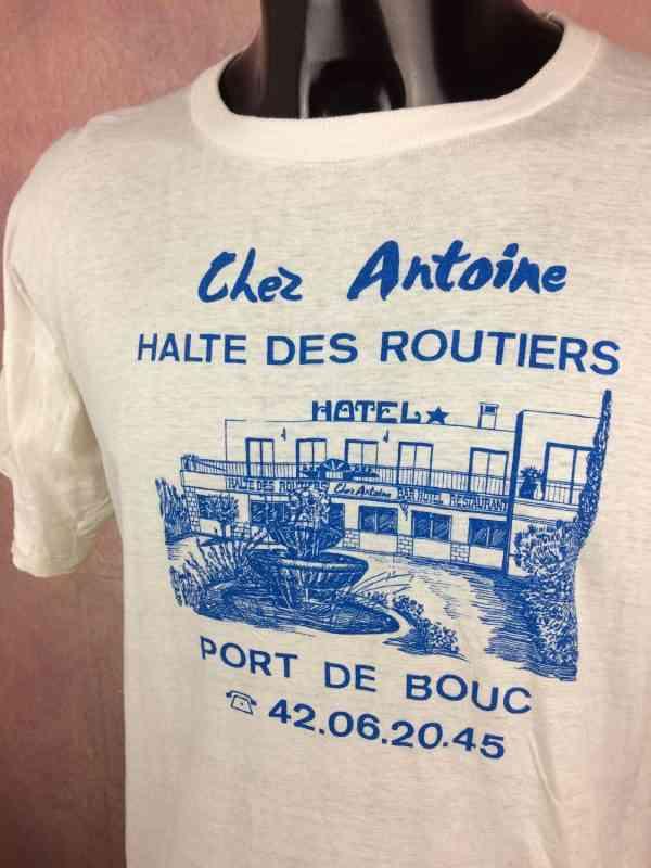 CHEZ ANTOINE Halte des Routiers T Shirt Port de Bouc.. 3 - CHEZ ANTOINE Halte des Routiers T Shirt Port de Bouc Vintage Année 80s France Publicité