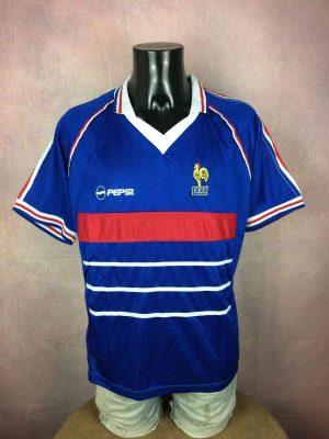 MaillotFRANCE 98, Véritable vintage années 90s, Floqué Pepsi sur le devant et dans le dos, Ecusson FFF brodé, Coupe du Monde World Cup Team Fan Jersey Maillot Football