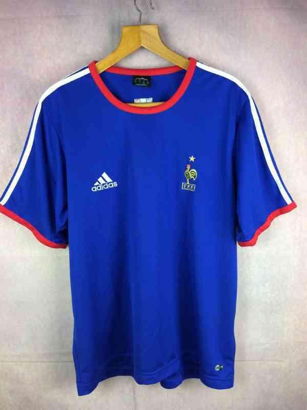 Maillot FRANCE, saison 2003 2004, de marque Adidas daté 11/03, Technologie ClimaLite, Version Entrainement, TrainingFFF Euro Team Jersey Camiseta