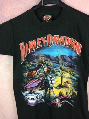 T Shirt HARLEY DAVIDSON, 3D Emblem, Daté de 1990, véritable vintage années 90s, Marque HARLEY DAVIDSON Motor Clothes, Pur coton, USA Moto Biker