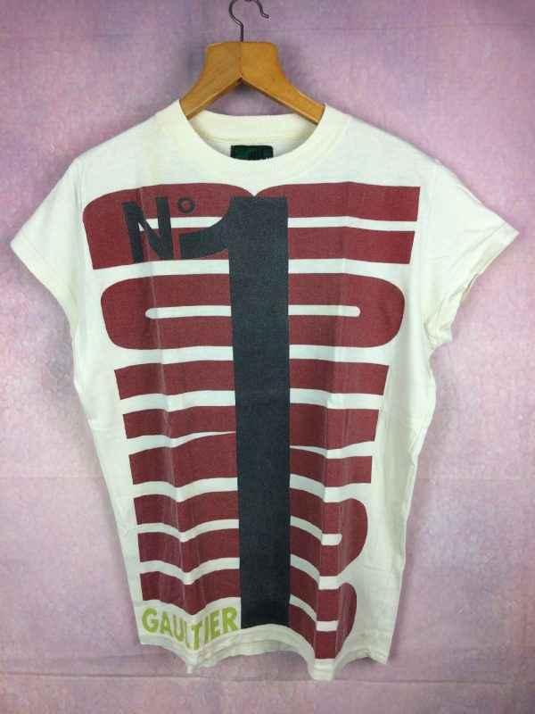 T-Shirt JUNIOR GAULTIER, Version N°1, Véritable vintage, Made in Italy, Pur coton, Design Couturier Jean Paul GaultierRare