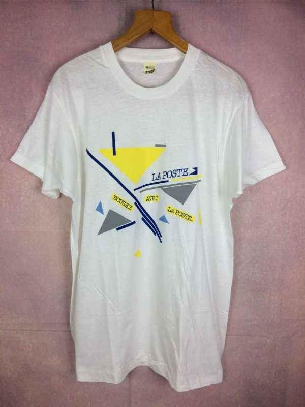 T-Shirt LA POSTE, Modèle Bougez avec la poste, Année 1986, Véritable vintage années 80s, Pur coton, Jamais porté, France Facteur Publicité