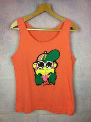 T-Shirt LC WAIKIKI, Made in France, Véritable Vintage années 80s, Patch cousu dans le dos, Pur coton, Singe Orange Débardeur Unisexe Rare