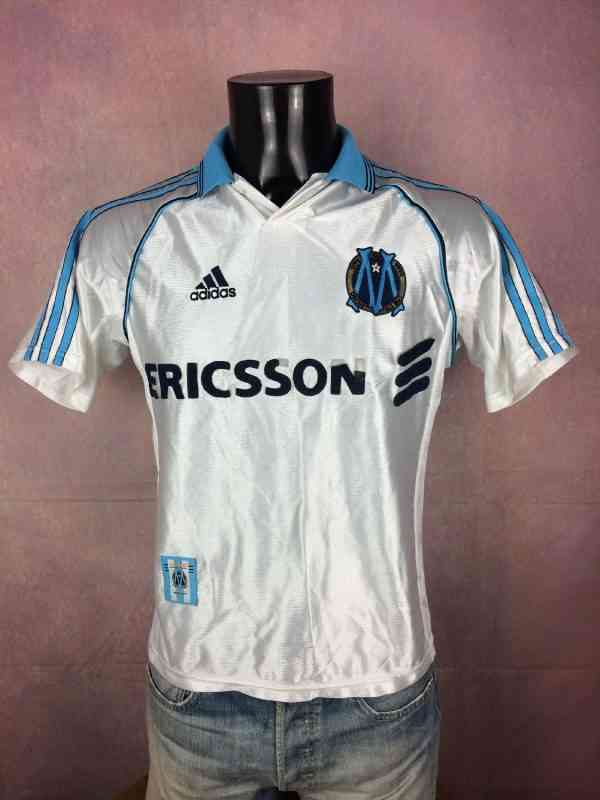 Maillot MARSEILLE, Saison 1998 1999, Version Home, Marque Adidas , Made in Portugal, OM Ligue 1 France Jersey  Trikot Camiseta