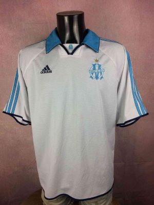 Maillot MARSEILLE, Saison 1999 2000, Version Sans Sponsor, Marque Adidas daté du 04/99, Finition Equipment, Made in Portugal, OM Ligue 1 France Jersey  Trikot Camiseta