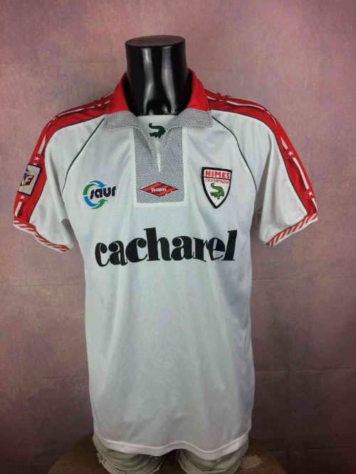 Maillot NIMES OLYMPIQUE, Saison 1998 1999, PréparéN°24, MarqueViasport, Sponsor Cacharel, Patch LNF, Made in France, France Jersey Trikot Camiseta