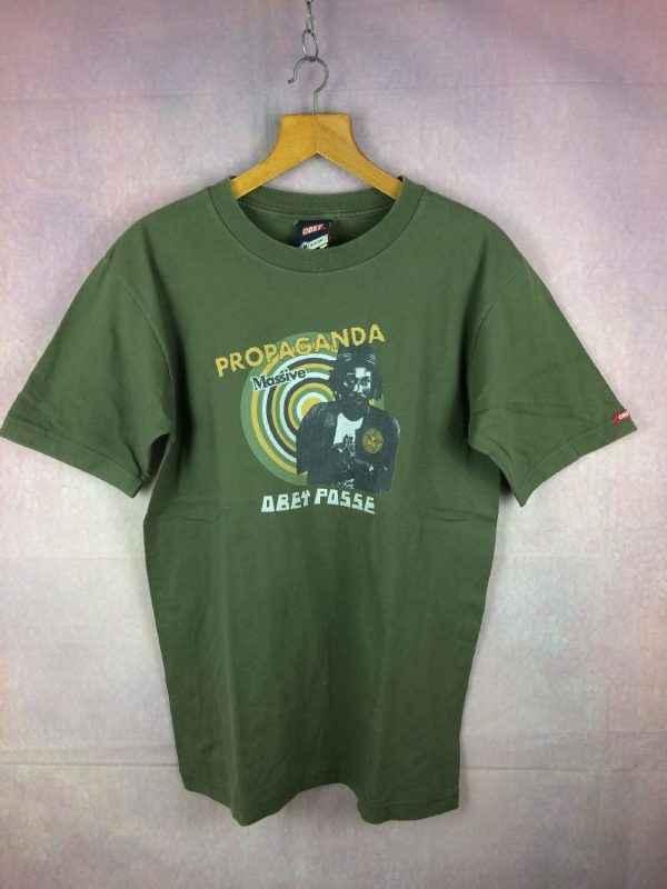 T-Shirt OBEY, édition Propaganda Massive Obey Posse, Véritable Vintage années 00s, Made in USA, Pur coton, Reggae Rasta Revolution Design