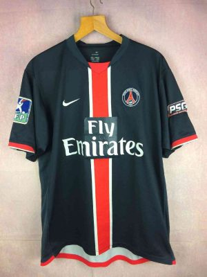 Maillot PSG, Saison 2007 2008, Version Home, Floqué Gallardo N°10, Marque Nike, Technologie Sphere Dry, Fly Emirates, Patch LFP, Paris Saint Germain Football