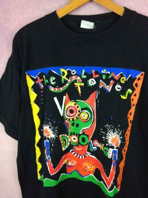 T-Shirt ROLLING STONES, édition Voodoo Lounge Tour 95, Véritable Vintage années 90s,  Official License, Under License to Brockum, Concert Rock