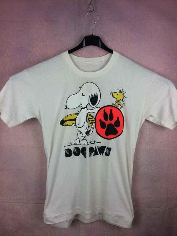T Shirt SNOOPY, Modèle Dog Paws, Véritable vintage Années 80, Peanuts Surf Woodstock