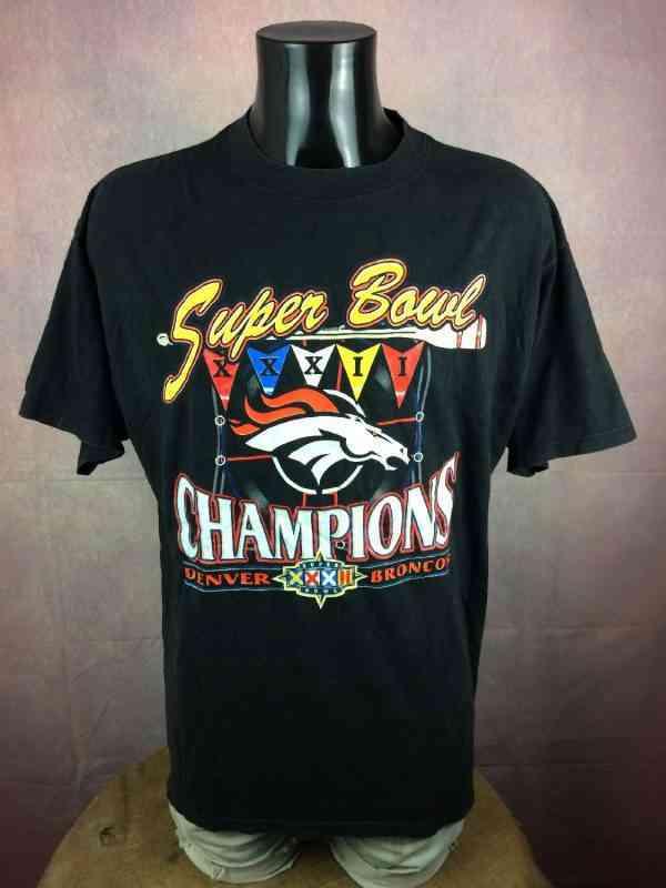 T-Shirt SUPER BOWL XXXII , édition Champions Denver Broncos, Année 1997, Véritable vintage année 90s, NFL Football Official