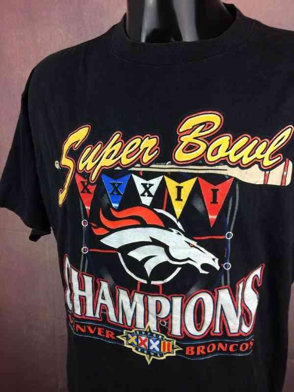 SUPER BOWL XXXII T Shirt Football Americain Champions.. 3 - SUPER BOWL XXXII T-Shirt Football Américain Champions Denver Broncos Vintage 90s 1997 NFLP