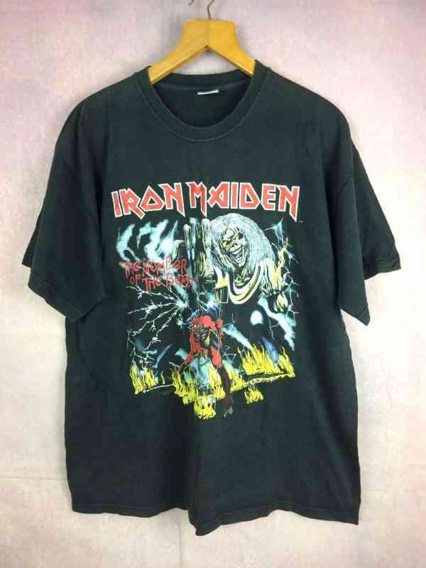 T-Shirt IRON MAIDEN, édition The Number Of The Beast 1982, Dos imprimé, Véritable Vintage années 80s, Licence Officielle, Marque Fruit Of The Loom, Pur coton, Heavy Metal 666