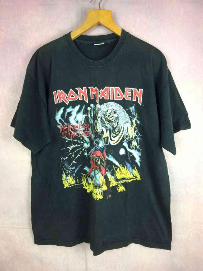 T-Shirt IRON MAIDEN, édition The Number Of The Beast 1982, Dos imprimé, Véritable Vintage années 80s, Licence Officielle, Marque Fruit Of The Loom, Pur coton, Heavy Metal 666