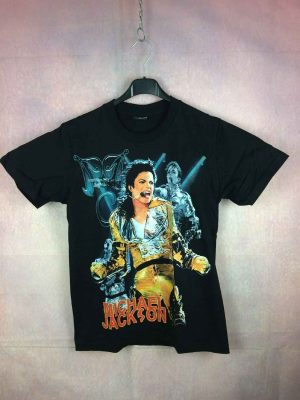 T-Shirt Remembering MICHAEL JACKSON, 1958 - 2009, Marque Reo, Pur coton, Visuel avec paillettes, Dos imprimé, Concert History King Of Pop