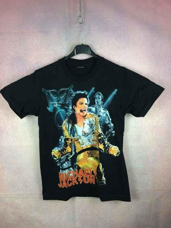 T-Shirt Remembering MICHAEL JACKSON, 1958 - 2009, Marque Reo, Pur coton, Visuel avec paillettes, Dos imprimé, Concert History King Of Pop