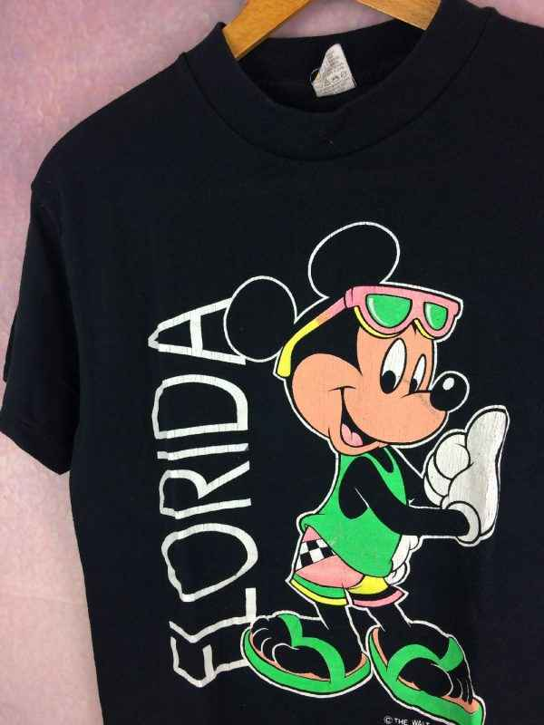 T Shirt MICKEY MOUSE Velva Sheen Florida Vintage annees.. 2 - T Shirt MICKEY MOUSE Velva Sheen Florida Vintage années 80s Made in USA Walt Disney