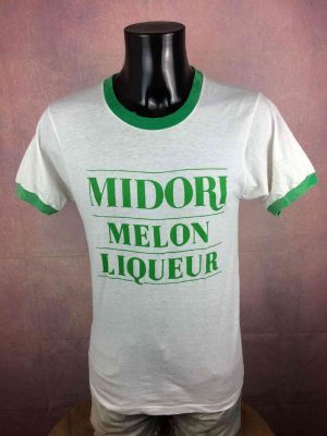 T-Shirt Midori Melon Liqueur, Véritable vintage années 80s, Marque Screen Stars, Made in USA, Alcool Publicité