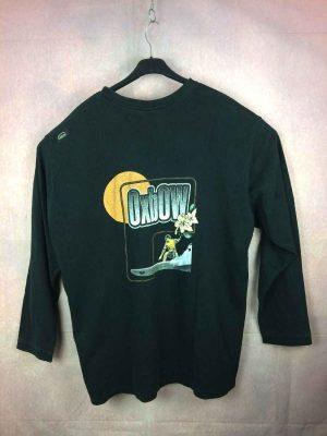 T Shirt OXBOW, Année 1997, Véritable vintage années 90s, Manches longues, Dos imprimé, Patch cousu sur l'épaule gauche, Surf Longboard