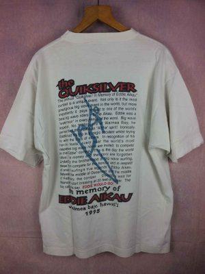 T-Shirt QUIKSILVER, édition Eddie Would Go, in MemoryofEddie Aikau, Waimea Beach, Hawaii 1995, Véritable vintage années 90s, Dos imprimé, Surf Waves