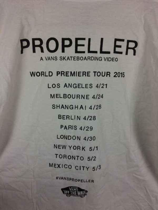T Shirt VANS Propeller A Vans Skateboarding Video World 4 - T Shirt VANS Propeller A Vans Skateboarding Video World Premiere Tour 2015