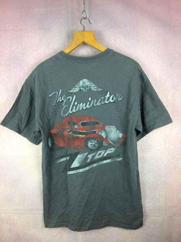 T Shirt ZZ TOP, Modèle The Eliminator Est 69, Dos imprimé, Faussement usé, Retro vintage, Pur coton, Marque Gildan, Rock Barbe Rare version