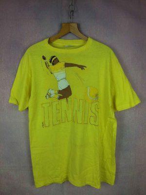 T Shirt TENNIS, Véritable Vintage Années 80s, Copyright Torpille, Marque Hanes, Made in USA, Pur coton, Rare Court