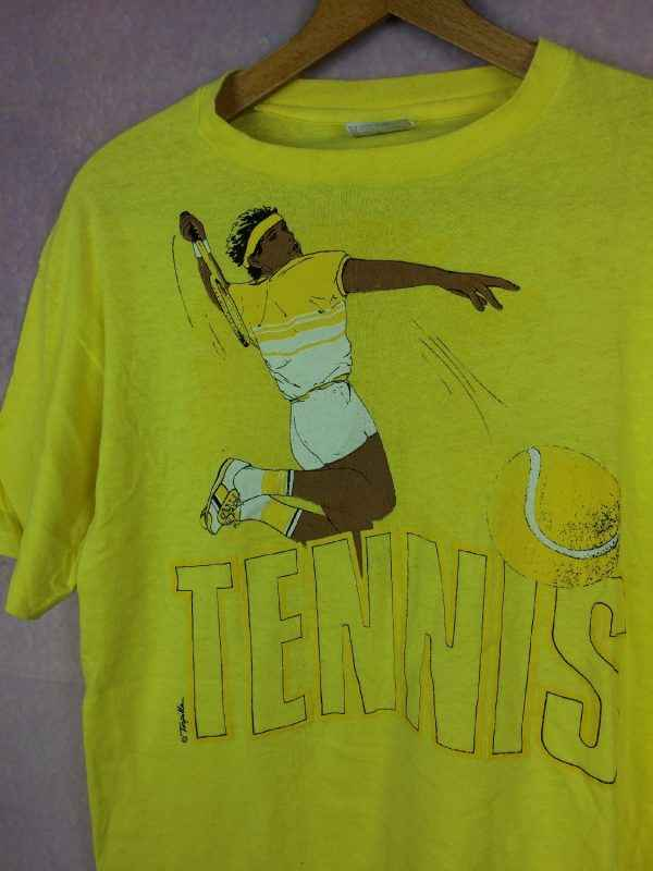 TENNIS T Shirt Vintage Annees 80s Hanes Made in USA .. 3 - TENNIS T Shirt Vintage Années 80s Hanes Made in USA