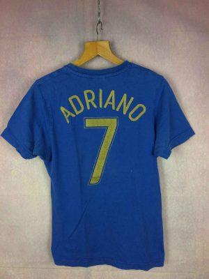 T-Shirt ADRIANO, N°7 Brasil CBF, Marque Nike, véritable vintage années 00s, Pur coton, Dos imprimé, Ronaldo Rivaldo Ronaldinho Brésil CBF Football