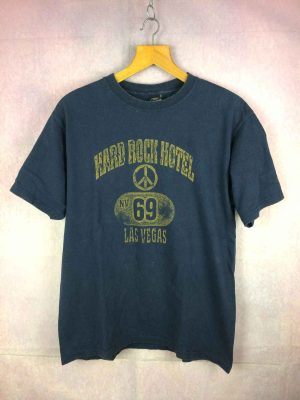 T Shirt HARD ROCK HOTEL, Modèle Las Vegas, Nv 69, Licence Officielle, Made in USA, Véritable vintage années 90s, Pur coton
