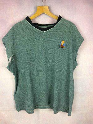 T-shirt THE SIMPSONS, Modèle No Problemo, Année 2001, Véritable vintage années 00s, Licence Officiele Fox, Bart Rare Manches arrachées Unique