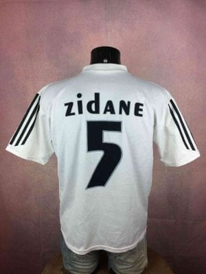 Real Madrid Maillot, FloquéZidane N°5, Saison 2004 - 2005, Version Home, Sponsor Siemens, Replica, Made in Italy, Taille M, Couleur Blanc, Espagne Liga Football Homme