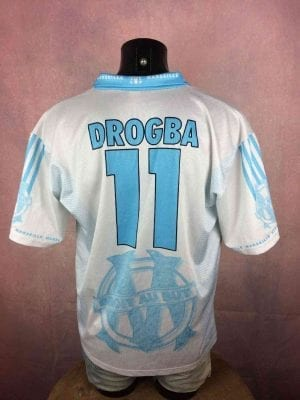 Olympique Marseille Maillot, Floqué Drogba N°11, Saison 2003 - 2004, Version Home, Sponsor 9 Telecom, Replica, Made in Italy, Taille XL, Couleur Bleu - Blanc, OM France Ligue 1 Football Homme