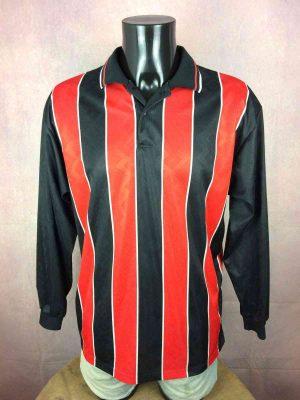 Decathlon Maillot, Véritable Vintage Années 90s, Manches longues, Col et Bouton, Taille L, CouleurNoir Rouge, Football Homme