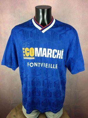 Umbro Maillot,Fontvieille, Porté N°12, Véritable Vintage Années 00s, Taille XL, Couleur Bleu et Blanc, Football Homme