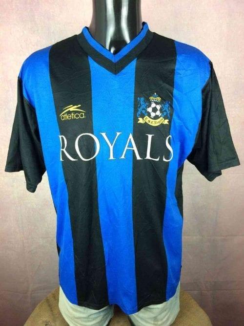AtleticaMaillot, Royals, Porté N°2, Véritable Vintage Années 90s, Made in USA, Taille L, Couleur Bleu et Noir, Football Homme