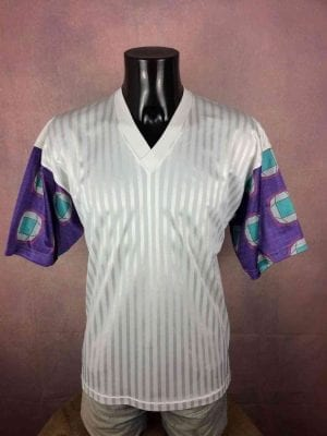 Maillot Véritable Vintage Années 80s, Made in France, Taille M, Couleur Blanc Manches multicolores, Design Football Homme