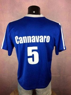 ItaliaMaillot, saison 2006, Floqué Cannavaro N°5, Version Home, Vintage, Replica, Taille M, Couleur Bleu - Blanc, Italy World Cup Football Homme
