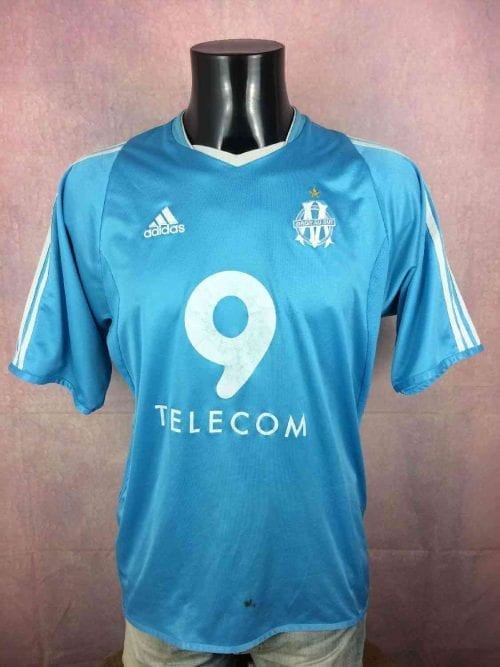 Olympique Marseille Maillot, saison2003 - 2004, Version Away, Sponsor 9 Telecom, Marque Adidas, Flocage Ganache, Taille M, Couleur Bleu - Blanc, OM France Ligue 1 Football Homme