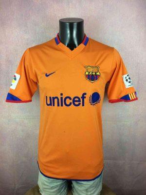 Barcelona FC Maillot, saison 2006 - 2008, VersionAway, Sponsor Unicef, Replica, Taille M, Couleur Orange - Bleu, FCB Liga Football Homme