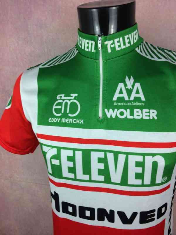 7 Eleven Hoonved American Airlines Team Maillot Eddy.. 1 - 7 Eleven Hoonved American Airlines Team Maillot Eddy Merckx Wolber 1989 Vintage Années 80s Cyclisme