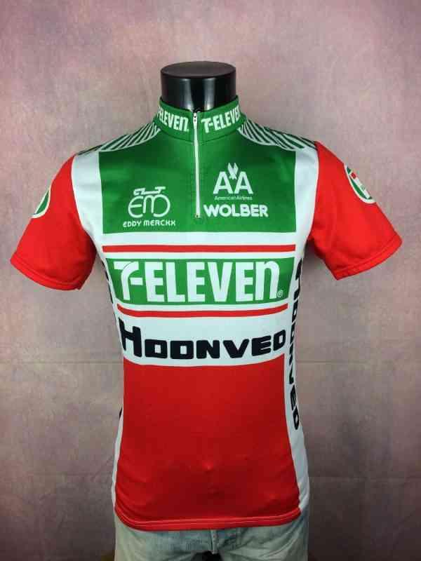 7 Eleven Hoonved American Airlines Team Maillot, Fabriqué par Eddy Merckx, Sponsors complémentaire Wolber, Saison 1989, Véritable vintage Années 80s, Cyclisme Jersey Trikot Camiseta