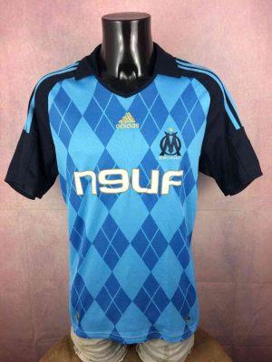Olympique Marseille Maillot, saison 2008 - 2009, Version Away, Sponsor Neuf, Marque Adidas, Taille L, Couleur Bleu - Noir, OM France Ligue 1 Football Homme